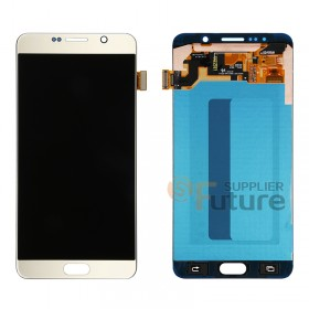 For Samsung Galaxy Note 5 SM-N920F/N920T/N920A/N920P/N920V LCD & Digitizer Assembly with Stylus Sensor Film - Gold - Samsung Logo - High Quality