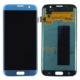 For Samsung Galaxy S7 Edge SM-G935/G935F/G935A/G935V/G935P/G935T/G935R4/G935W8 LCD & Digitizer Assembly - Coral Blue - Samsung Logo - High Quality