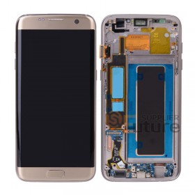 For Samsung Galaxy S7 Edge SM-G935F LCD & Digitizer Assembly with Front Frame - Gold - Samsung Logo - High Quality