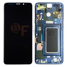 For Samsung Galaxy S9 G960/G960U/G960F LCD & Digitizer Assembly with Front Frame (W/O Charging Port) - Coral Blue - High Quality