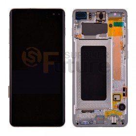 For Samsung Galaxy S10+ SM-G975/G975U/G975F LCD & Digitizer Assembly with Front Frame - Silver - High Quality